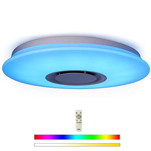 HOREVO Luminaire Plafonnier LED avec Haut-parleur Bluetooth, Lampe Luminaire du mont Plafond Télécommande + Téléphone APP, Ø40cm 24W RGBW éclairage réglable pour Cuisine Salle de bain Salle