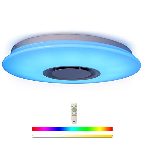 HOREVO 24W Ø 38cm Cuadrada Lámpara plafón de techo con mando a distancia con altavoz Bluetooth integrado RGB Cambio de color, APP Disponible, ideal Para Salón, Dormitorio Fiesta