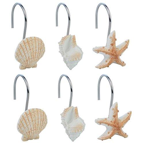 baotongle 12 PCS Seashell Shower Curtain Hooks Bathroom Beach Shell Decor (Light Brown)