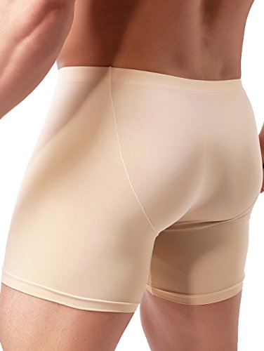 iKingsky Men's Long Leg Boxer Briefs Seamless Front Breathable Trunks Stretch Men Undepanties (Large, Nude)