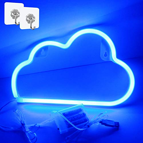 XIYUNTE Blue Cloud Light Neon Signs Led Neon Wall Light Battery or USB Operated Neon Light Sign Led Neon Lights Cloud Lamp Light up for The Home,Kids Room,Bar,Festive Party,Christmas,Wedding