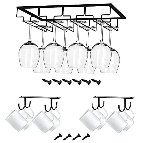Almacenamiento para copas de vino | Añade un organizador debajo de un estante flotante o armario para ahorrar espacio | Estante de metal perfecto para tu cocina, bar o encimera.