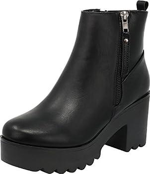 Cambridge Select Women s Closed Toe Side Zip Platform Chunky Block Heel Ankle Bootie,7.5 B M  US,Black PU