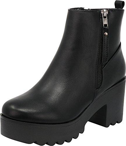 Cambridge Select Women's Closed Toe Side Zip Platform Chunky Block Heel Ankle Bootie,9 B(M) US,Black PU