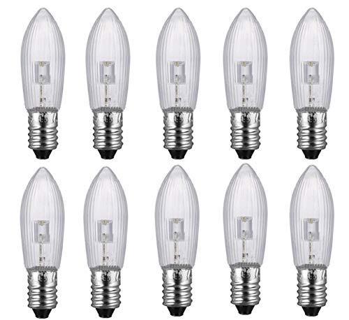 10 Stück E10 LED-Ersatzlampen Glühbirnen Topkerze für Lichterkette 10V-55V AC Deutsche Post 2 – 6 business days