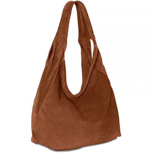 Caspar TL618 Bolso de Hombro para Mujer Shopper de Ante en Varios Colores, Color:marrón