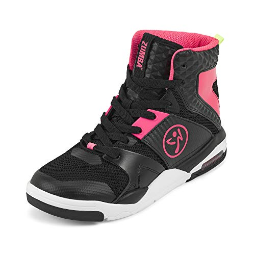 Zumba Air Classic Remix High Top Gym Shoes Dance Fitness Workout Shoes for Women, Black 0, 6
