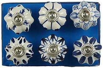 Set van 6 blauw-witte keramiek - kast - knoppen keuken - schuifladeknop - kast - deurgrepen - PushPACRAFTS