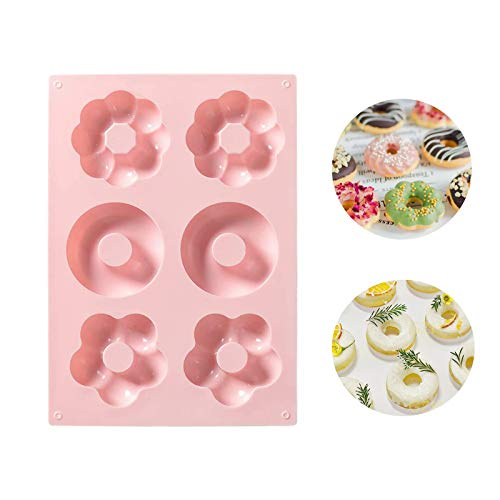 Food grade silicone doughnut mold Nonstick Round and Flower Donut Molds(Pink)