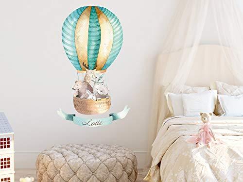 GRAZDesign Wandtattoo personalisiert Luftballon mit Namen niedliche Tiere Waldtiere - Wunschname - Geschenke - Tattoo Kinder Jungen Aquarell / 66x40cm