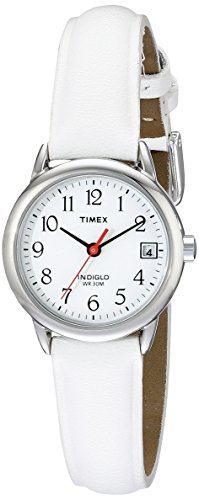Timex Women's T2H391 Indiglo Leather Strap Watch, White/Silver-Tone