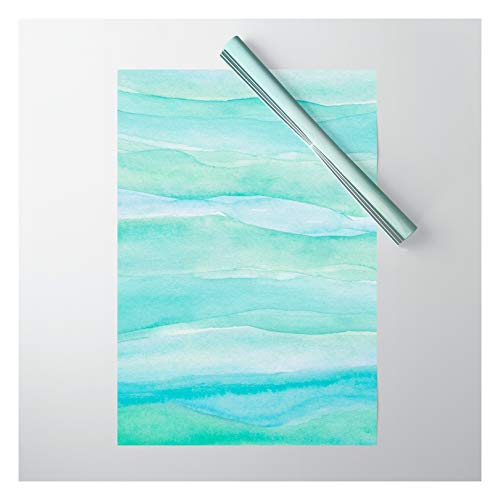 Society6 Ocean Layers - Blue Green Watercolor by Blue Sky Whimsy on Gift Wrapping Paper - Pack of 5