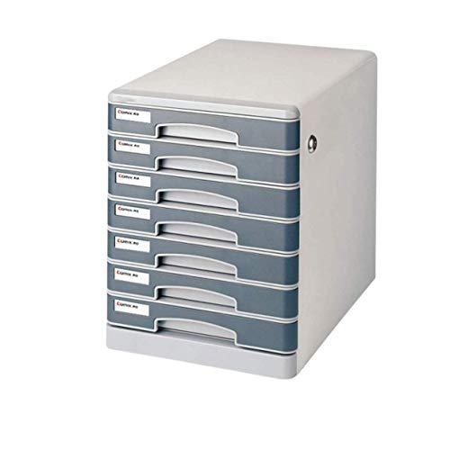 CQS Los cajones de Almacenamiento Armario de Archivo 7 cajones Caja Organizador de Escritorio con Cerradura y Etiquetas de la Caja de Alta Capacidad Puede almacenar Archivos A4