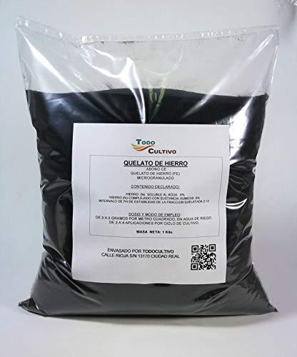 Quelato de Hierro Fertilizante 6% Fe-EDDHA, 4,8 (ORTO-ORTO). 1 Kilo. Efecto rápido.Corrige Las carencias de Hierro de los Cultivos de Forma Prolongada.