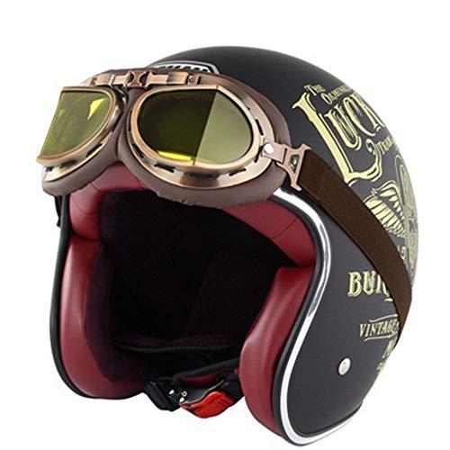 ZLYJ Casco Jet Moto, metà Aperto Faccia Caschetti con Stile Vintage retrò Occhialoni Moto, Mezza Caschi per Harley, Adulto Uomo e Donna Motociclo Helmets, Certificato DOT