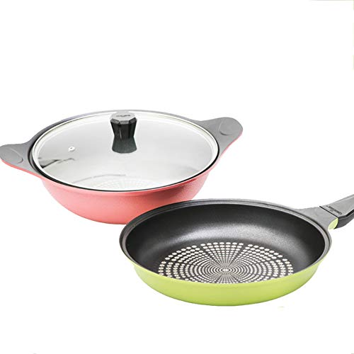 JTJxop Frying Pans Nonstick with Lid Set, Best Nonstick Omelette Skillet, Induction Bottom, 100% PFOA-Free, for Gas, Electric Cooktop, 11Inch