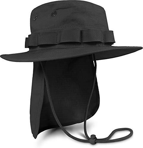 normani Boonie Hat Krempen Outdoor Hut 'Junglescout' mit abnehmbarem Nackenschutz für den Sommer Farbe Schwarz Größe XL