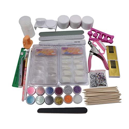Voberry- Set de manucure 22 pièces,Poudre Acrylique Glitter Nail Art Kit Faux Ongles Conseils Nail Art Décoration Outils