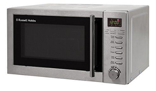 Russell Hobbs RHM2031 20 L 800 W Stainless Steel Digital Grill Microwave with 5 Power Levels, 1000 W Grill Power, Automatic Defrost, 8 Auto Cook Menus, Clock, Timer, Easy Clean