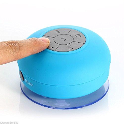 Kabelloser Mini-Lautsprecher, wasserdicht, Badezimmer-Lautsprecher, mit Bluetooth, mit Saugnapf, blau