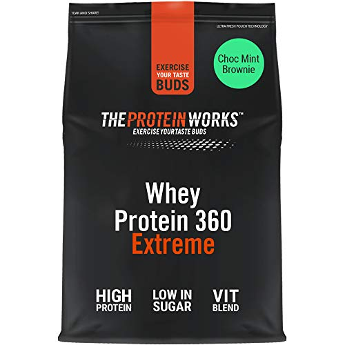 THE PROTEIN WORKS Whey Protein 360 Extreme Protein Powder | High Protein Shake | With Glutamine, Vitamins & Minerals | Protein Blend | Choc Mint Brownie | 1.2 kg