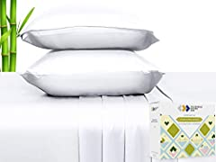 SMOOTH AND SILKY TO THE TOUCH – Our sheets are made of 100% pure bamboo fibers, not blended with synthetic polyester fibers. This gives an incredibly soft feel, superior to microfiber and bamboo blends, percale, or high thread count sheets. They drap...