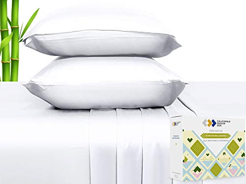 100% Natural Bamboo Sheets - Silky Soft Touch, Hypoallergenic, Cool and Breathable, 4 Piece Hotel Luxury Sheet Set, Elasticised Deep Pocket for Snug Fit (Queen Size, Bright White)