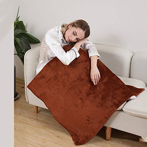 GAOWF Electric Warming Heating Blanket Pad Shoulder Neck Mobile Heating Shawl Soft Winter Warm Health Care Smart Shawl (Removable And Washable Buckle),Brown,60 * 80 buckle