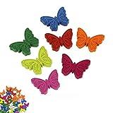 Bottoni artigianali, 50 pezzi, in legno, con farfalle, fatti a mano, per realizzare biglietti fai-da-te