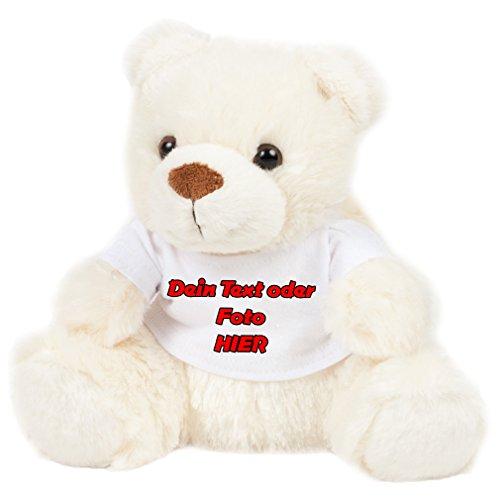 SHIRT-TO-GO Kuschliger Teddy Kuscheltier mit Aufdruck mit deinem Aufdruck Text oder Bild als Geschenkidee oder Liebesgeschenk