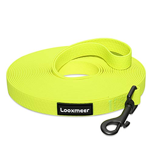 Looxmeer Schleppleine für Hunde, 15m Robuste Hundeleine Trainingsleine mit Aufbewahrungsbeutel, Handschlaufe und D-Karabiner, Neon Gelb