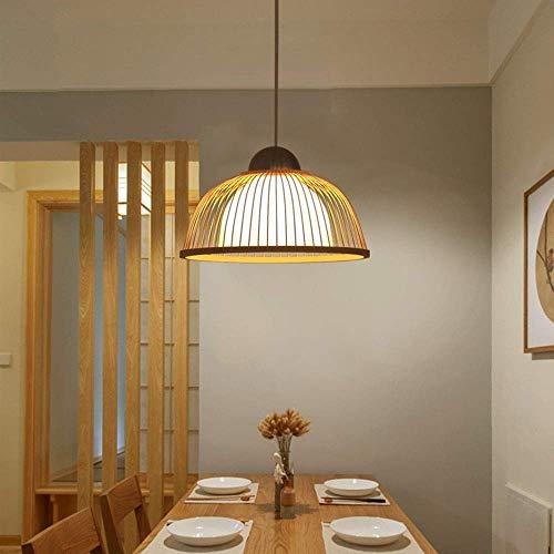 FEE-ZC Wohnzimmer Schlafzimmer Vintage E27 Pendelleuchte Industrie Bambus Pendelleuchte mit weißem Schirm Höhenverstellbar Halbkugel Design Hängelampen Dini