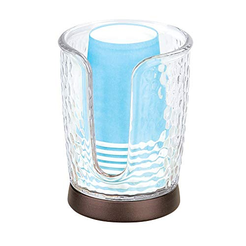 mDesign Modern Plastic Compact Small Disposable Paper Cup Dispenser - Storage Holder for Rinsing Cups on Bathroom Vanity Countertops - Clear/Bronze