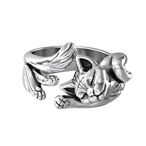 jieGorge Rings, Exquisite Copper Plated Silver Cat Ring, Fashion Ladies Jewelry Ring Size 5-11, Jewelry for Women Gifts (Silver 8)
