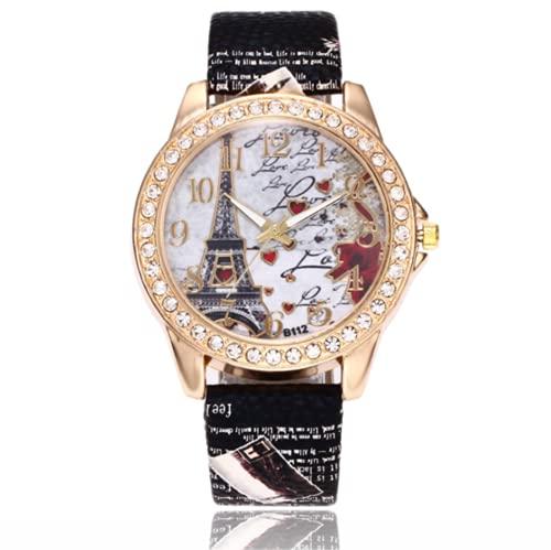 QWYU Torre patrón reloj de las mujeres reloj de oro acero inoxidable Rhinestone mujer relojes señoras reloj negro