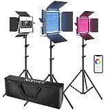 Neewer 3 Packs luz LED RGB 660 con Control App Kit Iluminación Video y Fotografía con Soportes y...