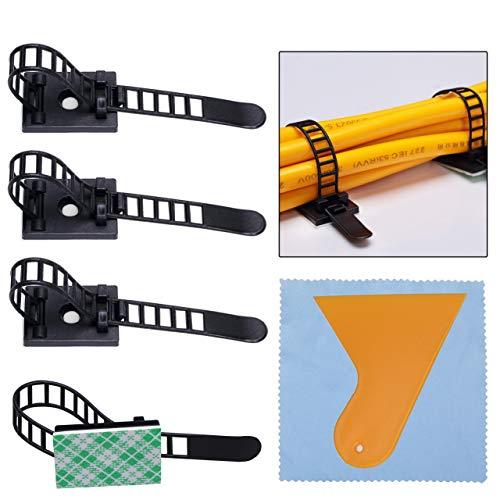 100 Pcs Bridas para Cables Clips de Cable Ajustable Abrazaderas Autoadhesivas de Cable Organizador para Cables para Coche/TV/Casa Nylon Negro, Viene con un raspador doméstico y un paño de limpieza