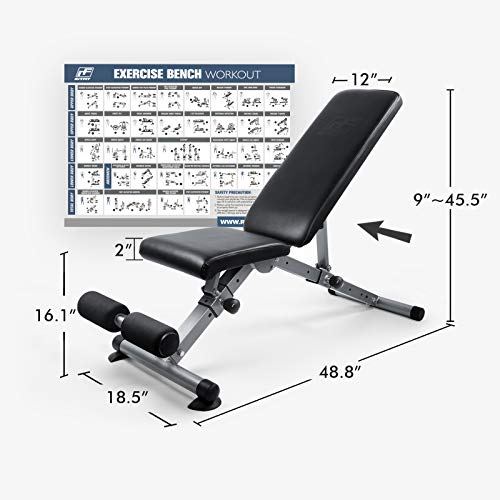 ToughFit Adjustable Workout Bench for Home, Flat/Incline/Decline Weight Bench for Garage Gym, Fast-Folding Bench for Strength Training - [Bonus] 1 Workout Poster with 35 Full-Body Exercises