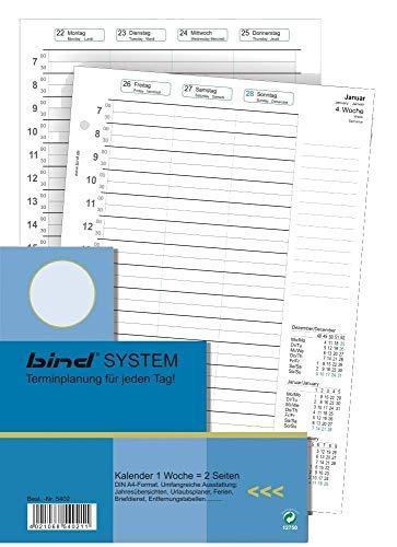 BIND B540220 - Kalendereinlage für Wochenkalender A4 - Jahr 2020, 1 Woche / 2 Seiten, Terminkalender mit System