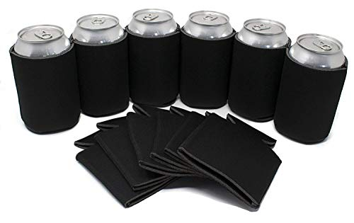 TahoeBay 25 Can Sleeves - Black Beer Coolies for Cans and Bottles - Bulk Blank Drink Coolers – DIY Custom Wedding Favor, Funny Party Gift (Black, 25)