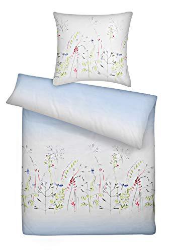 Carpe Sonno Mako Satin Bettwäsche 135x200 cm blau gemustert - Bettzeug in Qualität einer Hotelbettwäsche aus 100% gekämmter Baumwolle – blaue Bettgarnitur Set mit Libellen Muster und Wende Kissenbezug