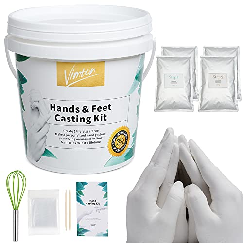 Kit 3D XXL Molde Manos para Familiares con alginato y Yeso, para Crear una Escultura de Manos de Adultos o de niños, ¡USA Agua más fría en Verano