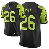 New York Jets Rugby Jersey Bell # 26, American Football Jersey Swingman Edition Sport Top T-Shirt, Hip-Hop Life Respirant High School Student Jersey-black-3XL(195~200)