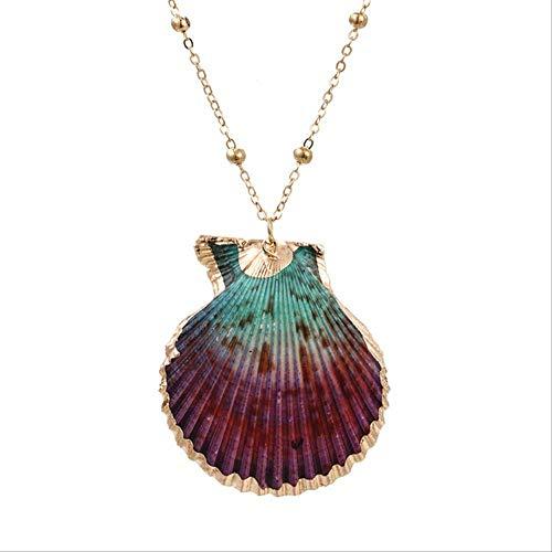 ZZWL Tendencias De La Moda Concha Caracola Collar Mujeres Verano Playa Natural Concha Colgante Oro Collar Moda Joyería Collar