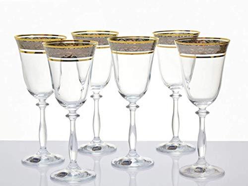Bohemia Juego de 6 copas de vino de cristal, 250 ml, con grabado plateado y borde dorado, cristal de plomo 24%