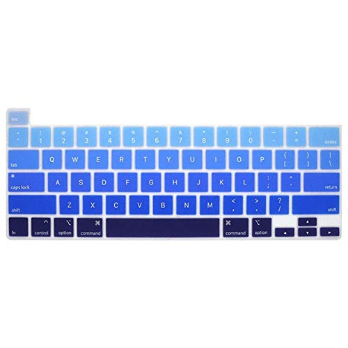 Flexible, waschbar, For MacBook Pro 16 Inch 2019 Touch Bar and Touch ID A2141 Rainbow Color Silicone English Keyboard Skin Cover Staub anti-schmutzig (Color : FadeBlue)
