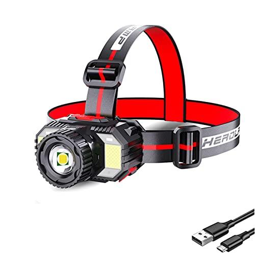 YSJJXTB Koplamp LED koplamp USB oplaadbare werklamp met IR-sensor waterdichte buitenlamp met ingebouwde batterij (Emitting Color : Type C)