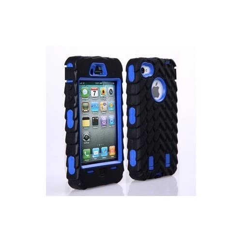 ccc65864636d42 Tire Pattern Dual Layer High Impact Defender Case Cover for iPhone 4 4S -  Blue