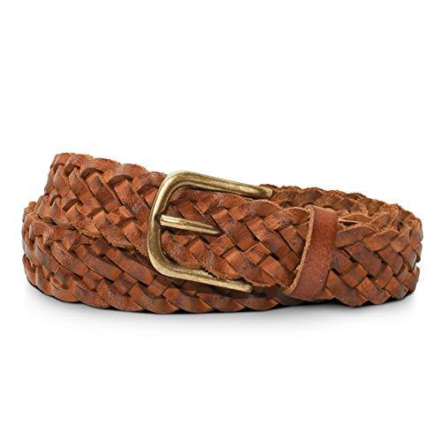 STILORD 'Ava' Cinturón de Cuero Trenzado Damas Universal Infinitamente Ajustable Vintage Cinturón con Caja de Regalo de cuero genuino 25 mm