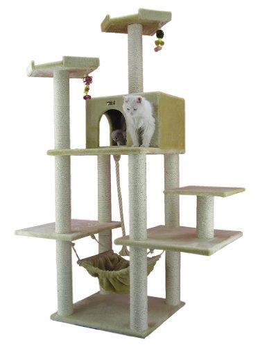 Armarkat Großer Kratzbaum AC7202 großem Katzenhaus und Hängematte (Beige)